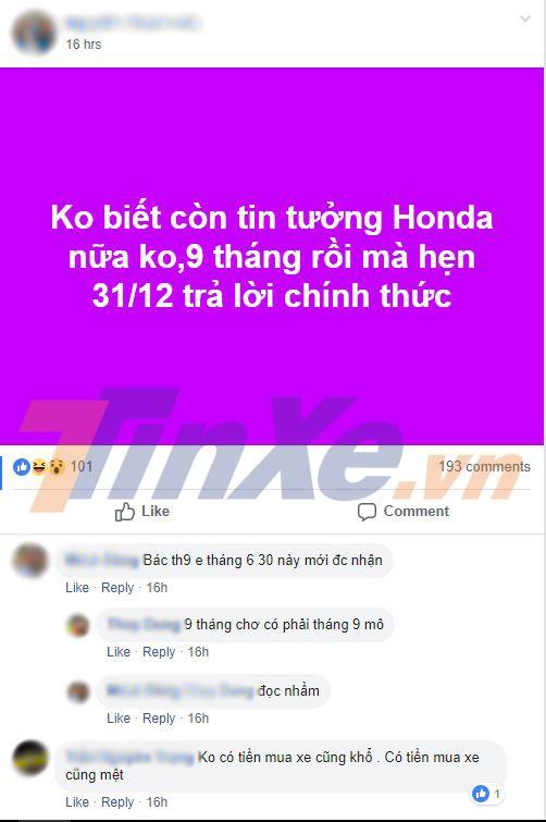 Đặt xe từ khoảng tháng 3 đầu năm 2018 nhưng sau 9 tháng người dùng này vẫn chưa nhận được Honda CR-V