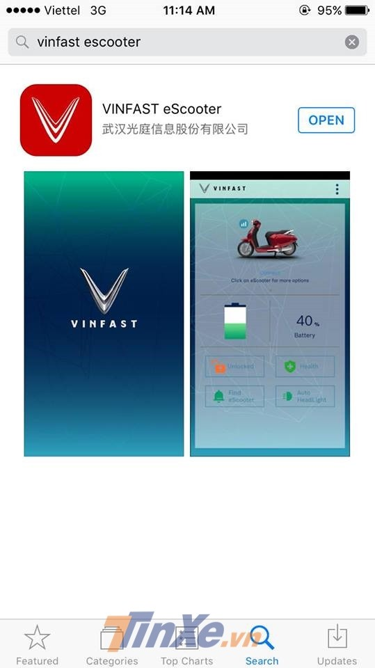 Ứng dụng Vinfast eScooter trên hệ điều hành IOS