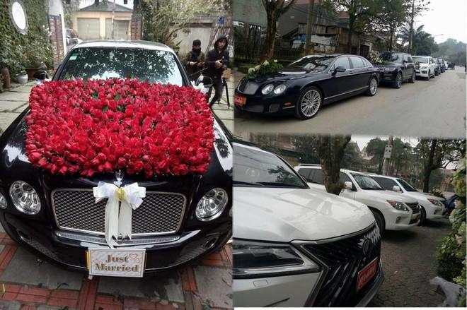 Có mặt trong buổi rước dâu tại Hà Tĩnh là chiếc xe siêu sang Bentley Mulsanne, Bentley Continental Flying Spur Speed và dàn xe SUV hạng sang hùng hậu của Range Rover với Lexus