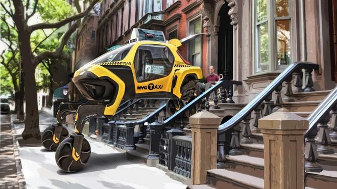 Với các bánh xe gắn vào chân rô bốt, nó có thể bước tới tận cửa nhà