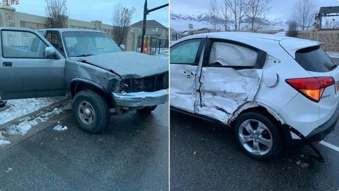 Hình ảnh chiếc xe bán tải màu xám và Honda HR-V màu trắng bị nát thân vỏ sau tai nạn