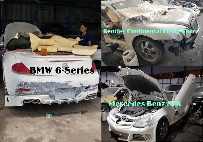Bộ 3 xe Bentley, BMW và Mercedes-Benz SLK đồng nát được thanh lý với giá 500 triệu đồng
