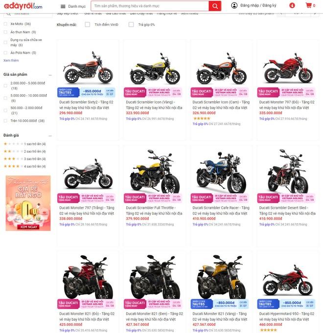 Rất nhiều sản phẩm xe và phụ kiện của Ducati sẽ được bày bán trên trên thương mại điện tử Adayroi