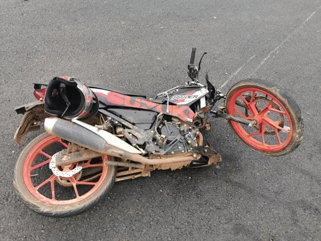 Chiếc xe côn tay Suzuki Raider 150 biến dạng sau vụ tai nạn